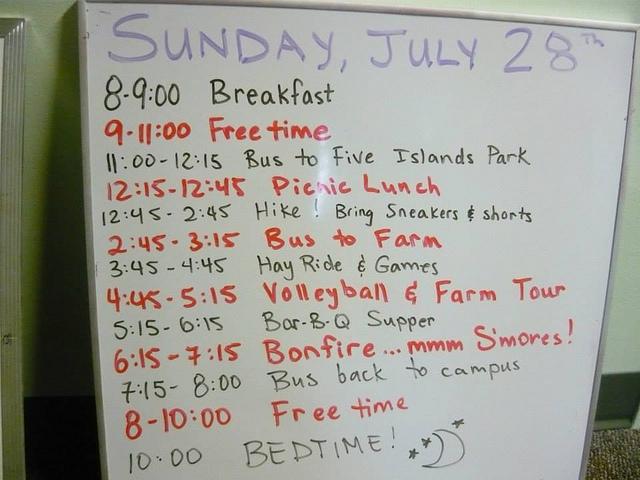 日曜日のスケジュールをチェックしてみましょう
